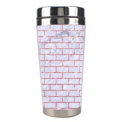 Brick1 White Marble & Pink Glitter (r) Stainless Steel Travel Tumblers by trendistuff