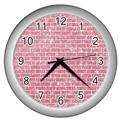 Brick1 White Marble & Pink Glitter Wall Clocks (silver)  by trendistuff