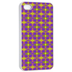 Purple Yellow Swirl Pattern Apple Iphone 4/4s Seamless Case (white) by BrightVibesDesign