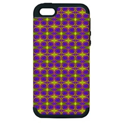 Purple Yellow Swirl Pattern Apple Iphone 5 Hardshell Case (pc+silicone) by BrightVibesDesign