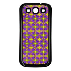 Purple Yellow Swirl Pattern Samsung Galaxy S3 Back Case (black) by BrightVibesDesign