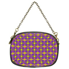 Purple Yellow Swirl Pattern Chain Purses (two Sides)  by BrightVibesDesign