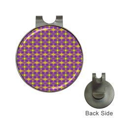 Purple Yellow Swirl Pattern Hat Clips With Golf Markers by BrightVibesDesign