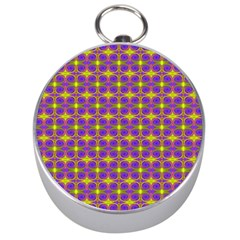 Purple Yellow Swirl Pattern Silver Compasses by BrightVibesDesign