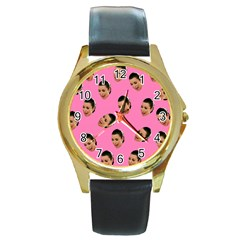 Crying Kim Kardashian Round Gold Metal Watch by Valentinaart