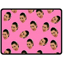 Crying Kim Kardashian Double Sided Fleece Blanket (large)  by Valentinaart