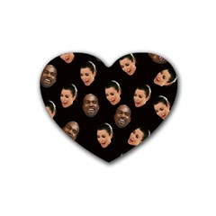 Crying Kim Kardashian Rubber Coaster (heart)  by Valentinaart