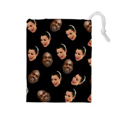 Crying Kim Kardashian Drawstring Pouches (large)  by Valentinaart