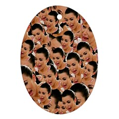 Crying Kim Kardashian Oval Ornament (two Sides) by Valentinaart