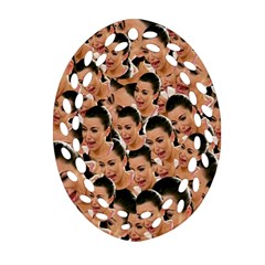 Crying Kim Kardashian Oval Filigree Ornament (two Sides) by Valentinaart