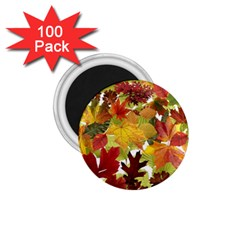 Autumn Fall Leaves 1 75  Magnets (100 Pack)  by LoolyElzayat