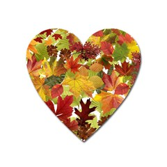 Autumn Fall Leaves Heart Magnet
