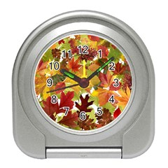 Autumn Fall Leaves Travel Alarm Clocks by LoolyElzayat