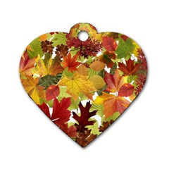 Autumn Fall Leaves Dog Tag Heart (one Side) by LoolyElzayat