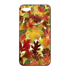 Autumn Fall Leaves Apple Iphone 4/4s Seamless Case (black) by LoolyElzayat