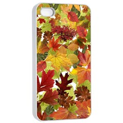 Autumn Fall Leaves Apple Iphone 4/4s Seamless Case (white) by LoolyElzayat