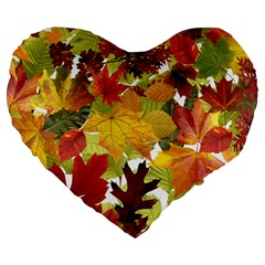 Autumn Fall Leaves Large 19  Premium Heart Shape Cushions by LoolyElzayat