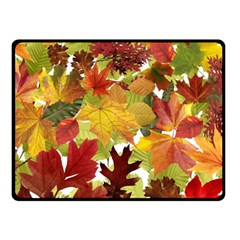 Autumn Fall Leaves Double Sided Fleece Blanket (small)  by LoolyElzayat