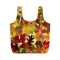 Autumn Fall Leaves Full Print Recycle Bags (m)  by LoolyElzayat