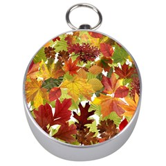 Autumn Fall Leaves Silver Compasses by LoolyElzayat