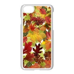 Autumn Fall Leaves Apple Iphone 7 Seamless Case (white) by LoolyElzayat