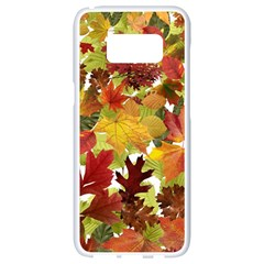 Autumn Fall Leaves Samsung Galaxy S8 White Seamless Case by LoolyElzayat
