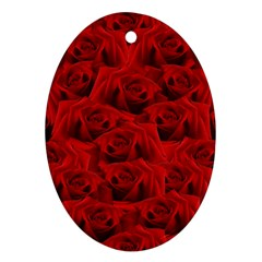 Romantic Red Rose Ornament (oval)