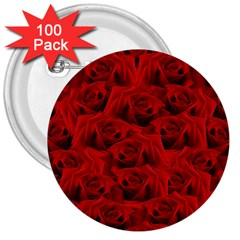 Romantic Red Rose 3  Buttons (100 Pack)  by LoolyElzayat