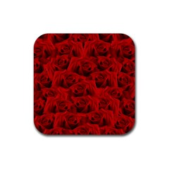 Romantic Red Rose Rubber Square Coaster (4 Pack)  by LoolyElzayat