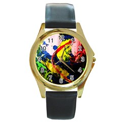 Global Warming 2 Round Gold Metal Watch by bestdesignintheworld