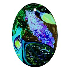 Lilac And Lillies 1 Oval Ornament (two Sides) by bestdesignintheworld