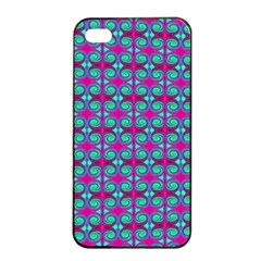 Pink Green Turquoise Swirl Pattern Apple Iphone 4/4s Seamless Case (black)