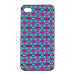 Pink Green Turquoise Swirl Pattern Apple iPhone 4/4s Seamless Case (Black) Front
