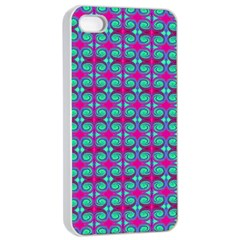 Pink Green Turquoise Swirl Pattern Apple Iphone 4/4s Seamless Case (white) by BrightVibesDesign