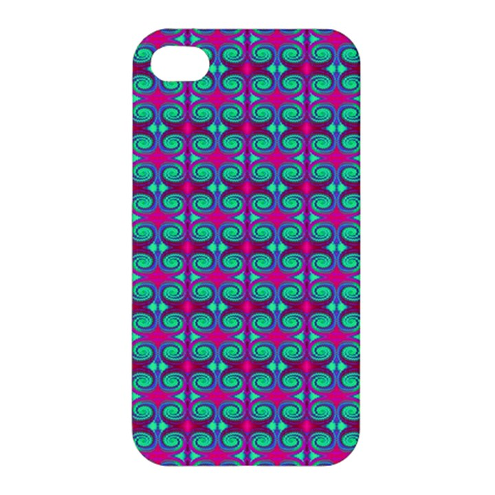Pink Green Turquoise Swirl Pattern Apple iPhone 4/4S Hardshell Case