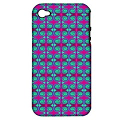 Pink Green Turquoise Swirl Pattern Apple Iphone 4/4s Hardshell Case (pc+silicone)