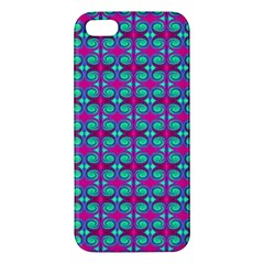 Pink Green Turquoise Swirl Pattern Apple Iphone 5 Premium Hardshell Case by BrightVibesDesign