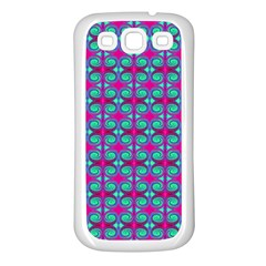 Pink Green Turquoise Swirl Pattern Samsung Galaxy S3 Back Case (white) by BrightVibesDesign