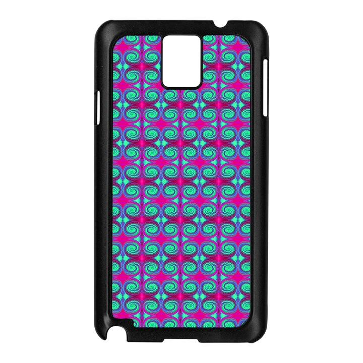 Pink Green Turquoise Swirl Pattern Samsung Galaxy Note 3 N9005 Case (Black)