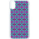 Pink Green Turquoise Swirl Pattern Apple iPhone X Seamless Case (White) Front