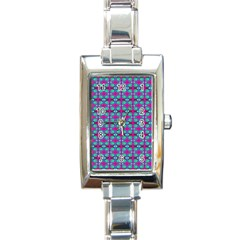Pink Green Turquoise Swirl Pattern Rectangle Italian Charm Watch
