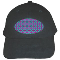 Pink Green Turquoise Swirl Pattern Black Cap by BrightVibesDesign