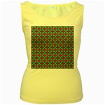 Pink Green Turquoise Swirl Pattern Women s Yellow Tank Top Front