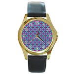 Pink Green Turquoise Swirl Pattern Round Gold Metal Watch Front