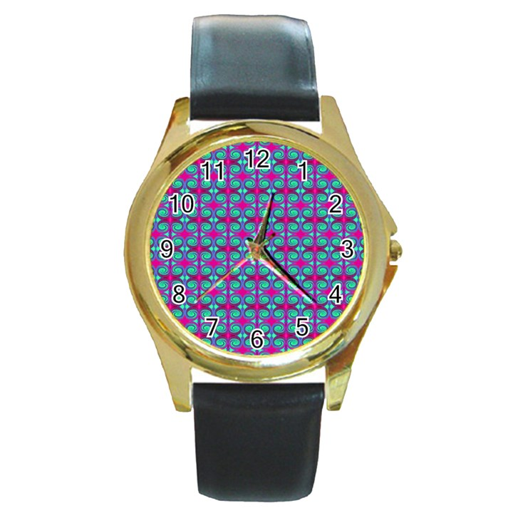 Pink Green Turquoise Swirl Pattern Round Gold Metal Watch