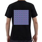 Pink Green Turquoise Swirl Pattern Men s T-Shirt (Black) (Two Sided) Back