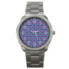 Pink Green Turquoise Swirl Pattern Sport Metal Watch by BrightVibesDesign