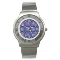 Pink Green Turquoise Swirl Pattern Stainless Steel Watch
