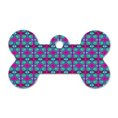 Pink Green Turquoise Swirl Pattern Dog Tag Bone (one Side)