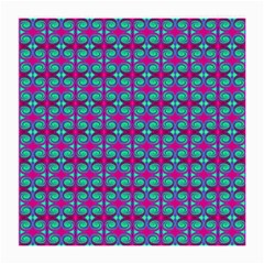 Pink Green Turquoise Swirl Pattern Medium Glasses Cloth (2 Side) by BrightVibesDesign
